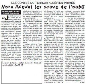 LES CONTES DU TERROIR ALGÉRIEN PRIMÉS Nora Aceval les sauve de l'oubli dans Presse coupure-soir-dalgerie-du-25.10.2008-300x291
