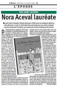 Prix Saint-Exupéry : Nora Aceval lauréate dans El Watan prix-saint-exupery-189x300